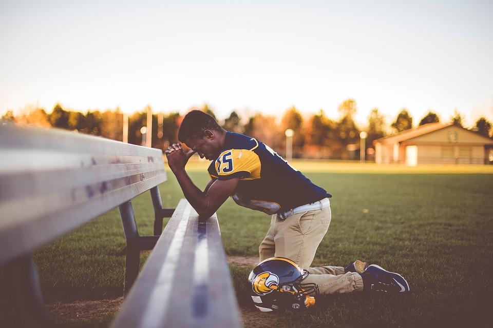 Praying People Playground Helmet Kneel Bench Man